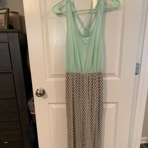 Mint green and gray maxi dress